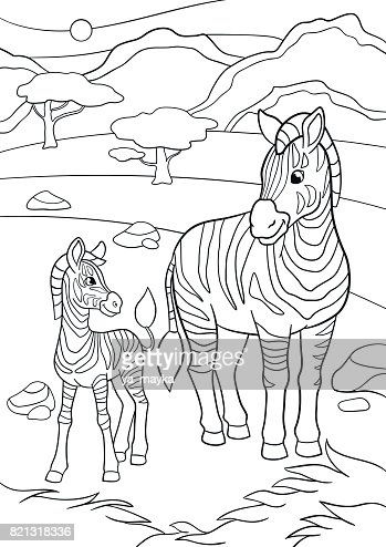 Coloring Pages Mother Zebra With Her Little Cute Baby Vector Art