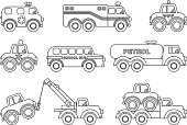 Coloring pages. Set of different silhouettes children toys transportation.