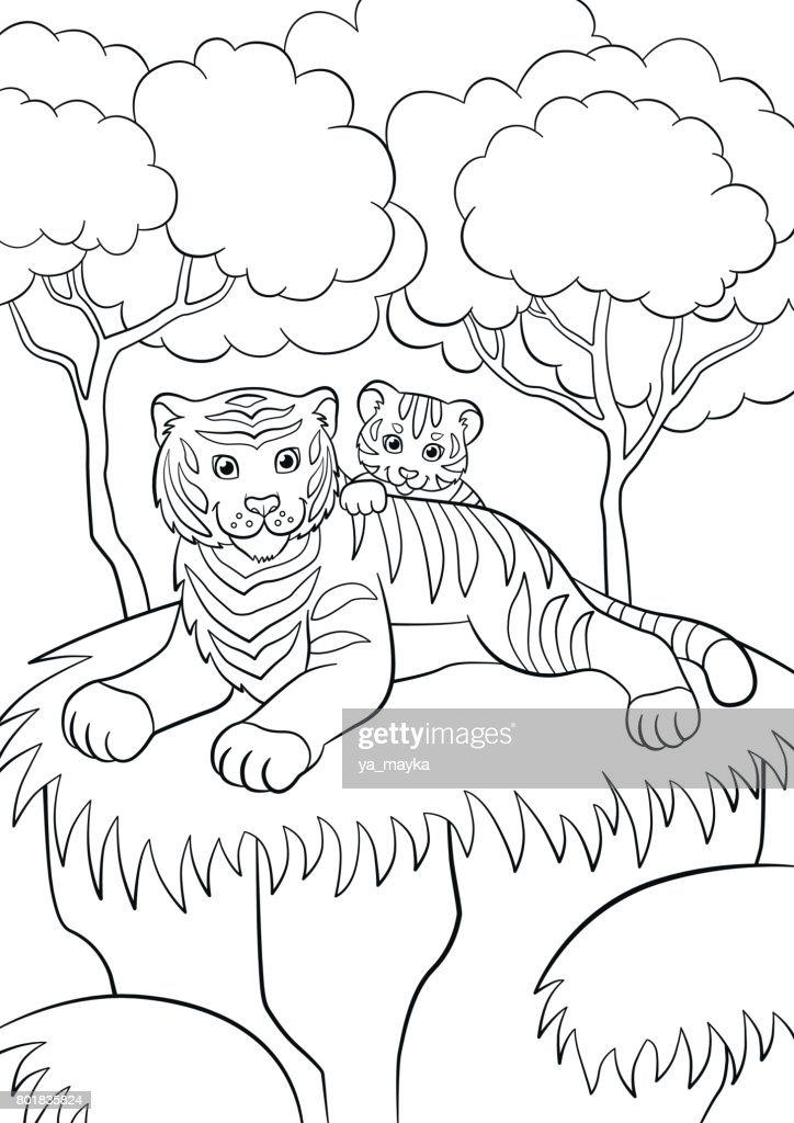 Malvorlagen Wilde Tiere Lächelnde Mutter Tiger Mit Ihren Kleinen ...