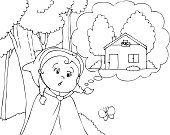 Coloring Red Riding Hood in the wood vector