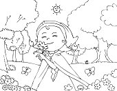 Coloring Red Riding Hood with flowers