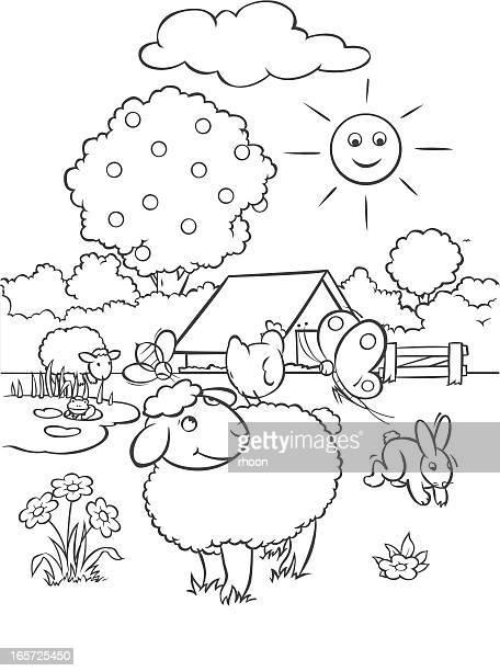 coloring the farm - farmhouse stock illustrations