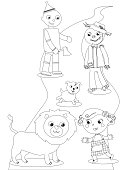 Coloring wizard of OZ: Dorothy meet the lion