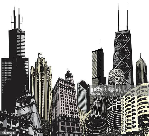 colorized chicago megascape - chicago stock illustrations, clip art, cartoons, & icons