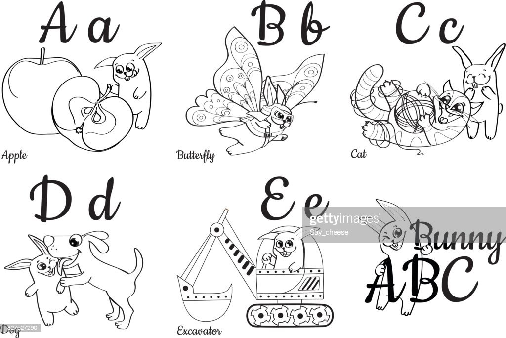 Colorless Alphabet Letters For Kids Coloring Book Vector Art | Getty ...