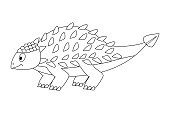 Colorless funny cartoon  ankylosaurus. Cartoon dinosaur. Vecto
