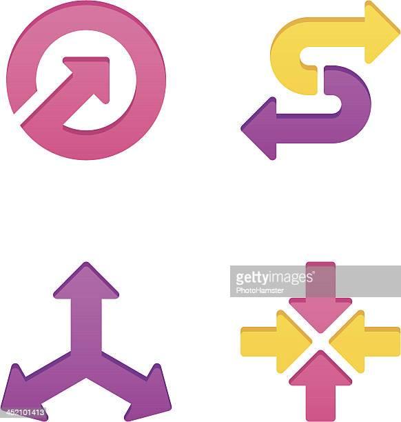 colorpress arrow sign set v - letter s stock illustrations, clip art, cartoons, & icons