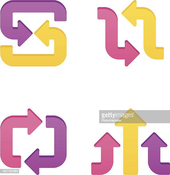 colorpress arrow sign set xvi - letter s stock illustrations, clip art, cartoons, & icons