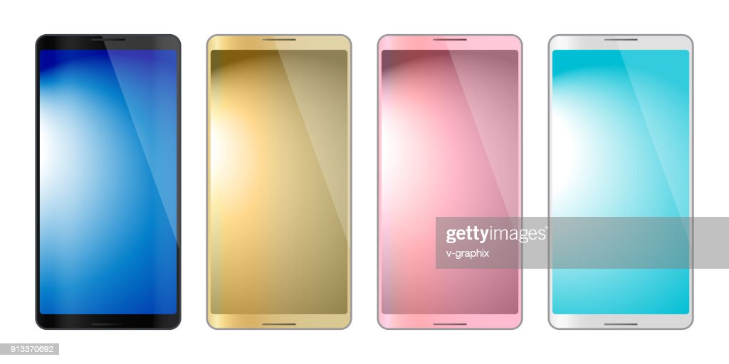 4 colors smartphones, mobile phone isolated, gradation background, vector illustration image.