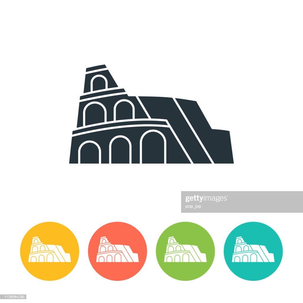 Colosseum flat icon - color illustration : stock illustration