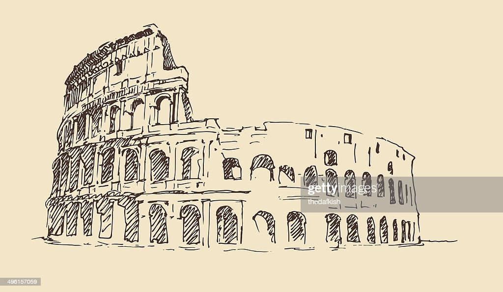 Colosseum in Rome, Italy vintage engraved illustration, hand drawn