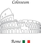 Colosseum, Rome, with Italian flag vector illustration