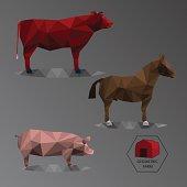 Colour full geometric illustration of big farm animals - triangl
