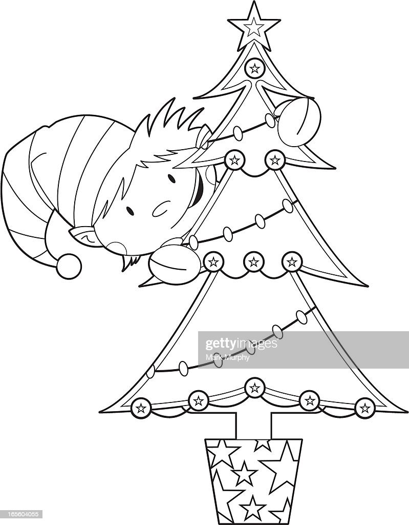 Colour In Elf & Christmas Tree