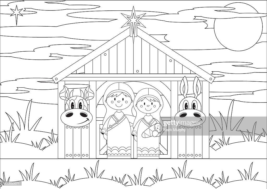 Colour In Mary and Joseph at Nativity Barn