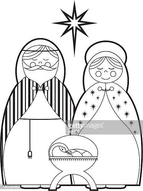colour in mary, joseph & baby jesus - baby blanket stock illustrations, clip art, cartoons, & icons