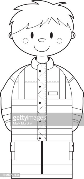 colour in paramedic ambulance man vector art getty images - Ambulance Pictures To Colour