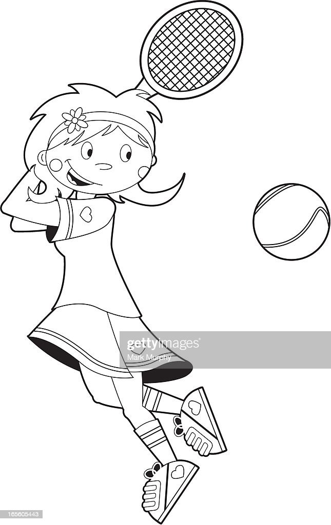 Colour In Tennis Girl Vector Art | Getty Images