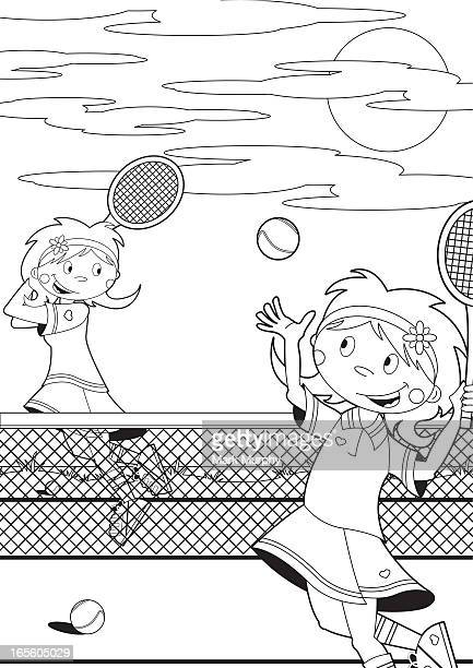 Colour In Tennis Girls on Court