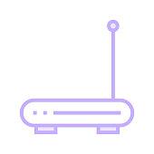 WIFI ROUTER colour line icon
