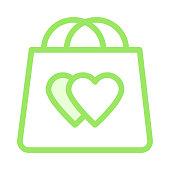 HEART SHOPPING BAG Colour Line Vector Icon