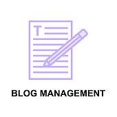 BLOG MANAGEMENT colour line vector icon