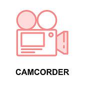 VIDEO CAMERA colour line vector icon