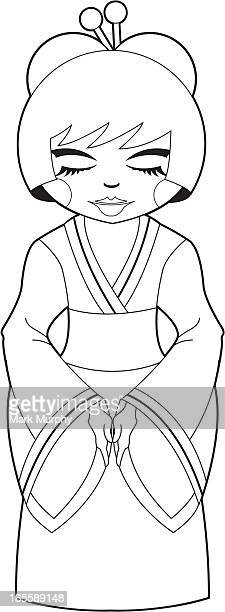 colour me cute geisha girl - updo stock illustrations, clip art, cartoons, & icons