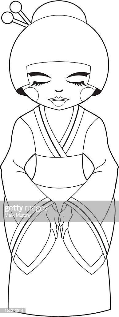 Colour Me Cute Geisha Girl : stock illustration