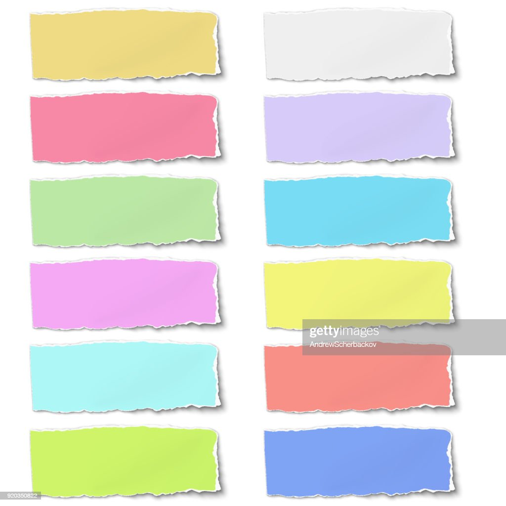 Colour oblong paper tears isolated on white background