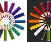 Colour pencils in circle
