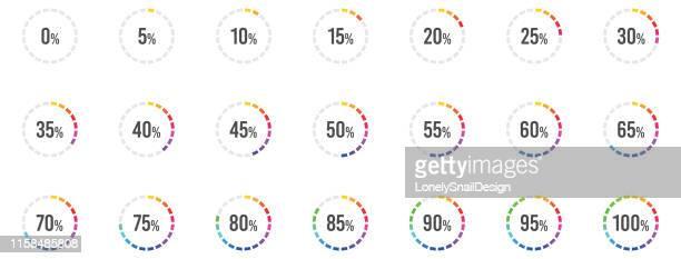 farbprozente - fortschritt stock-grafiken, -clipart, -cartoons und -symbole