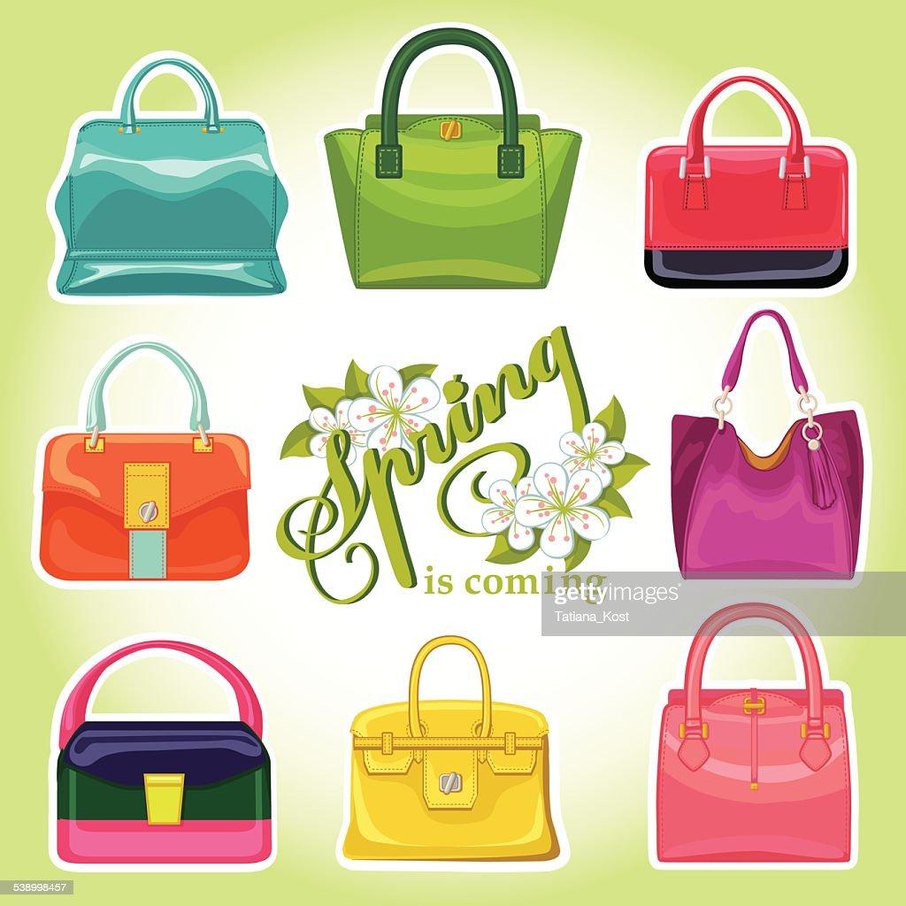 Coloured fashion womens handbags.Spring is comming