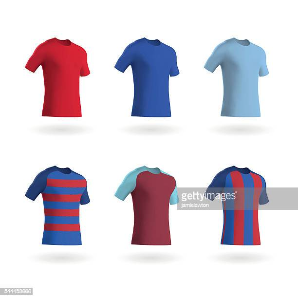 coloured football shirts / soccer shirts / fitted t-shirts - shirt stock illustrations