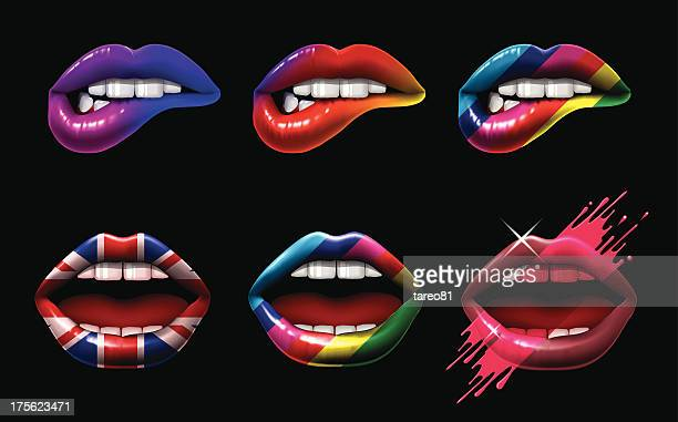 coloured lips - human mouth stock illustrations