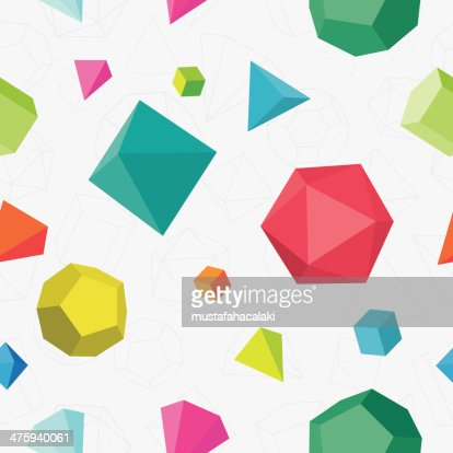 Colourful 3D solids seamless pattern