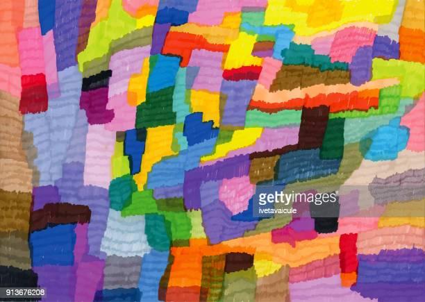 ilustraciones, imágenes clip art, dibujos animados e iconos de stock de patrón de fondo colorido con bolígrafos de punta de fieltro - patchwork