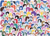 Colourful background pattern of crowd of people