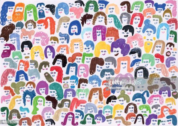 ilustrações de stock, clip art, desenhos animados e ícones de colourful background pattern of crowd of people - bigode