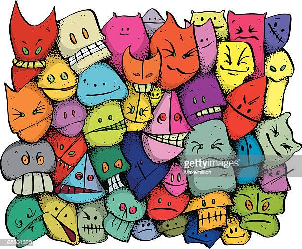 colourful character face background disorderly youth - puppet stock illustrations, clip art, cartoons, & icons