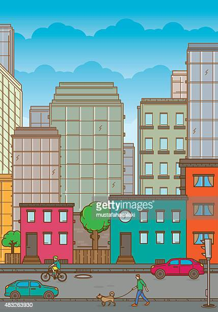 Colourful cityscape with neighbourhood and people