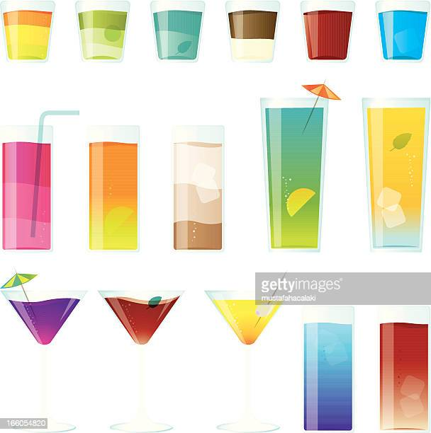 Colourful cocktail and shot glasses