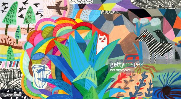 colourful collage with colourful patterns, plants, animals and human - graphic print stock illustrations