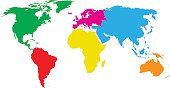 colourful continents world map