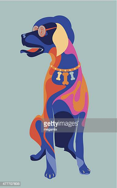 colourful dog. - surrealism stock illustrations