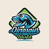 Colourful emblem, symbol, label the dinosaur of the Jurassic period of the Mesozoic era is isolated on a background of the shield. Vector illustration.