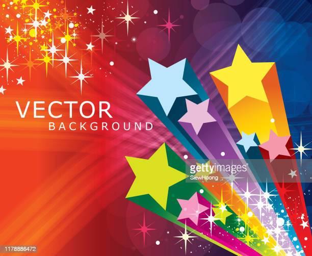 illustrazioni stock, clip art, cartoni animati e icone di tendenza di colourful exploding star - a forma di stella