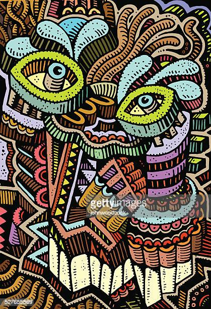 Colourful face doodle