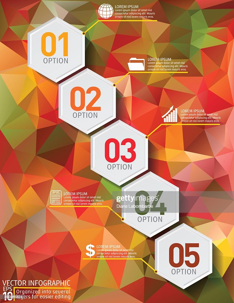 Colourful Geometric Hexagon Infographic On Red Polygon Background