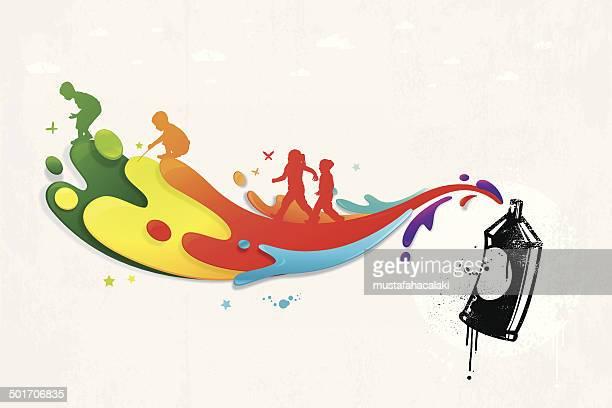 Colorido grafite com Pintura splatters e crianças silhuetas